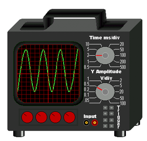 Time base generator - A typical oscilloscope with a time base controlled on the top dial, and the amplification of the signal on the bottom dial.