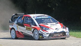 Toyota Yaris WRC - Ott Tänak and Martin Järveoja driving a Yaris WRC at the 2018 Rallye Deutschland
