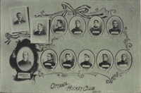 Ottawa Hockey Club, 1896-1897.The team is in their 'barber-pole' jerseys.
