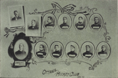 "A montage of individual photographs of hockey players, plus three team executives, with the inscription ""Ottawa Hockey Club 1896-97"""