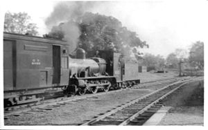 Oudh and Tirhut Railway - Oudh-Tirhut Railway F1 class 0-6-0 locomotive No. 620 shunting stock at Kathgodam station probably in April 1947. It was withdrawn by 1957.