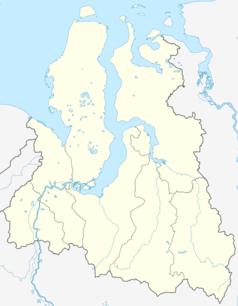 """Mapa konturowa Jamalsko-Nienieckiego Okręgu Autonomicznego, po lewej nieco na dole znajduje się punkt z opisem """"Salechard"""""""