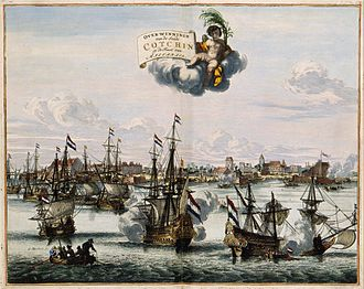 Dutch–Portuguese War - The capture of Kochi and victory of the V.O.C. over the Portuguese in 1663. Atlas van der Hem 1682,