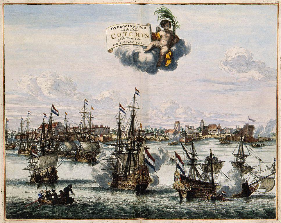 La vittoria olandese sopra il portoghese al largo Malabar in India Coenraet Decker (1682)