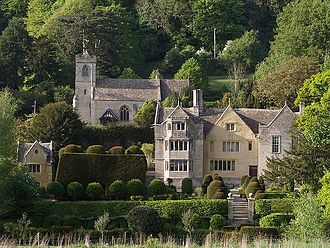 Owlpen Manor - Owlpen Manor from the south, with Court House (left) and church