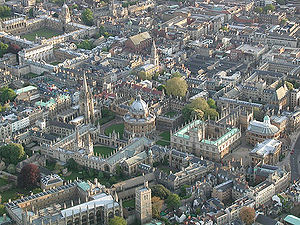 An aerial view of Oxford city centre, showing ...