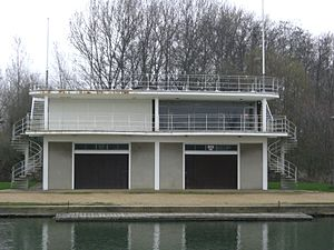 Jesus College Boat Club (Oxford) - On the left is the club's boathouse on the Isis. The right-hand half of the building is used by Keble College.