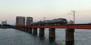 Nippō Main Line - Kirishima limited express train crossing Ōyodo River, Miyazaki
