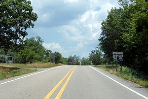Arkansas Highway 16 - Highway 16 running concurrent with Highway 21 north of Fallsville as a segment of the Ozark Highlands Scenic Byway.