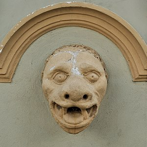 Mascaron of the Bernardine Monastery Fountain in Leżajsk, Poland.