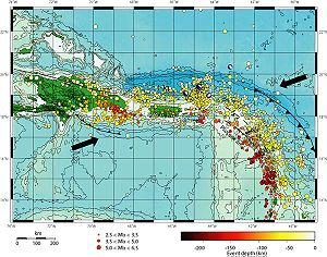 Puerto Rico Trench - Tectonic and seismic map of Puerto Rico Trench area. Arrows show direction of plate movements. USGS.
