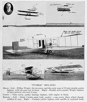 Pusher configuration - Early photos of Wilbur Wright's, Glenn Curtiss' and Henri Farman's pusher biplanes