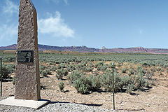 A historical marker at the former site of Pariah, Utah.