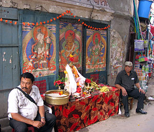 Paubha - Paubhas displayed during the alms-giving festival in Kathmandu.