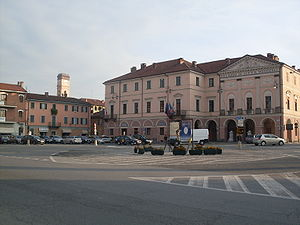 "Racconigi - The central ""Carlo Alberto Square"" and the Town Hall"
