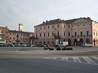"""Racconigi - The central """"Carlo Alberto Square"""" and the Town Hall"""