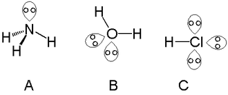 Lone pair - Lone pairs in ammonia (A), water (B) and hydrogen chloride (C)