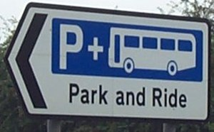Park and ride - A road sign for park and ride in Oxford, United Kingdom.