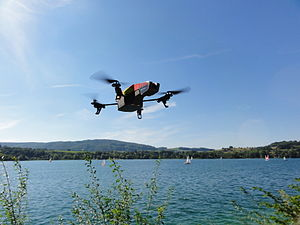Parrot AR.Drone - AR.Drone 2.0 in flight with outdoor hull