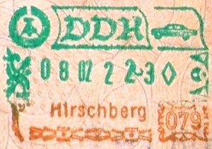 Hirschberg, Thuringia - Image: Passportstempel DDR Hirschberg