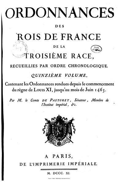 File:Pastoret - Ordonnances des rois de France de la troisième race, tome 15.djvu