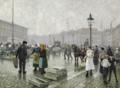 Paul Fischer - Travl dag på fiskemarkedet på Gl. Strand i København - 1919.png