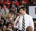 Paul Ryan talks to a noisy, supportive crowd at Carroll University in Waukesha on Oct. 15, 2012. (8091035017).jpg