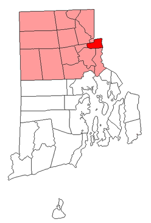 National Register of Historic Places listings in Pawtucket, Rhode Island - Location of Pawtucket in Providence County, Rhode Island