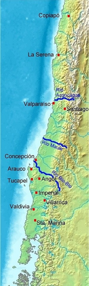 Economic history of Chile - All mainland Spanish settlements (red dots) south of Biobío River were destroyed by 1604.
