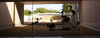 Leonard and Kathleen Shillam - Leonard and Kathleen Shillam's Pelican sculptures at the Queensland Art Gallery.  Photo taken from inside the Art Gallery
