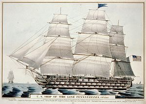 USS Pennsylvania (1837) - Currier lithograph of USS Pennsylvania, 1846