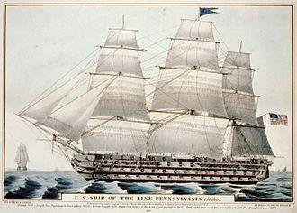 USS Pennsylvania (1837) - Currier lithograph of USS Pennsylvania, 1846