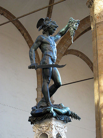 Conservation and restoration of metals - Perseus with the Head of Medusa in the Loggia dei Lanzi gallery on the edge of the Piazza della Signoria in Florence; picture taken after the statue's cleaning and restoration.