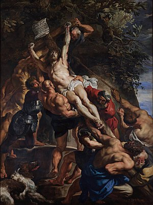 Flemish Baroque painting - Peter Paul Rubens, The Raising of the Cross, c. 1610–1611