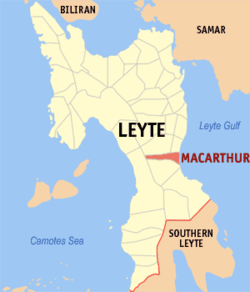 Map of Leyte with MacArthur highlighted