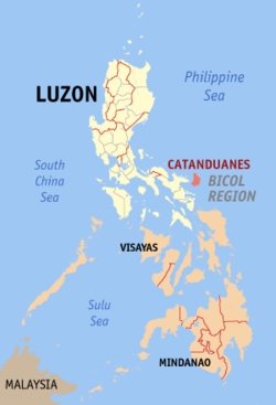 Map of the Philippines with Catanduanes highlighted