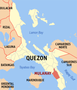 Map of Quezon showing the location of Mulanay