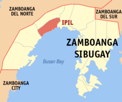 Map of Zamboanga Sibugay showing the location of Ipil.