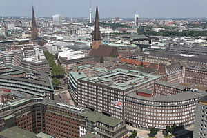 Altstadt, Hamburg - Aerial view of the Kontorhaus District