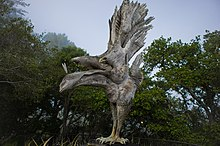 "Edmund Kara's sculpture """"Phoenix Bird"" with wings extended on the terrace of the Nepenthe restaurant."