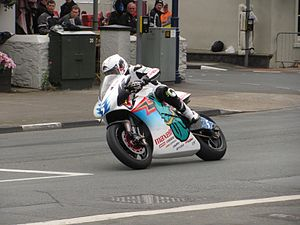 Mugen Motorsports - Bruce Anstey on board the Team Mugen Shinden San at Parliament Square, Ramsey