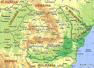 Geography of Romania - Physical and administrative map of Romania, with the historic regions in grey (Țara Românească means Wallachia).