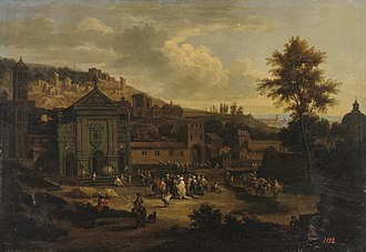Adriaen Frans Boudewijns - Square in a seaside town, with Pieter Bout