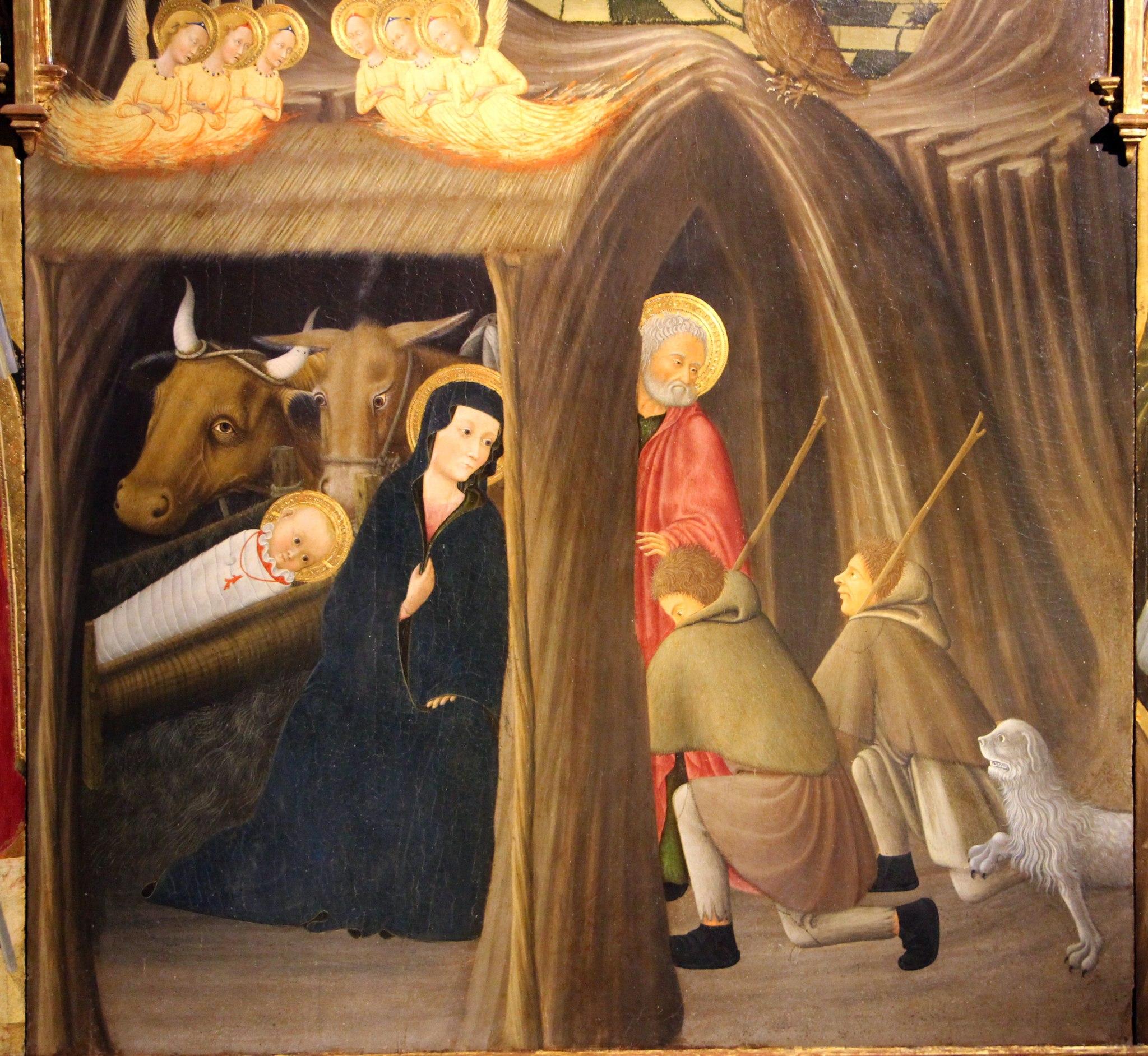 Pietro di giovanni d'ambrogio, adorazione dei pastori tra i ss. galgano e agostino, da. agostino, 06