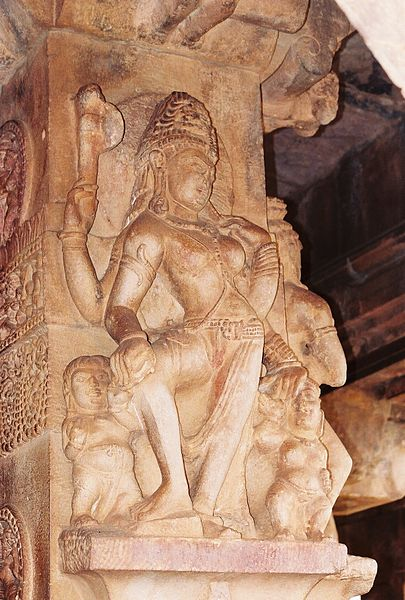 File:Pillar relief sculpture at the Durga temple in Aihole.jpg