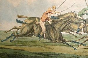 Pindarrie - Engraving of Pindarrie (foreground) running in the 1820 Derby