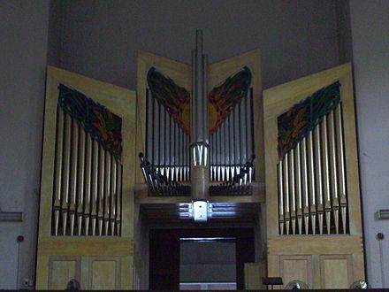 The pipe organ in the chapel of San Carlos Seminary, Makati City, Philippines exhibits a modern facade. Pipe Organ of San Carlos Seminary.jpg
