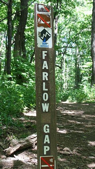 Enduro (mountain biking) - Sign at Farlow Gap trailhead.