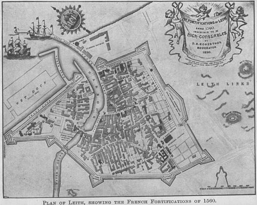 Plan of Leith showing the French fortifications of 1560