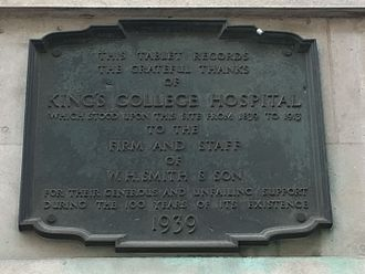 King's College Hospital - Plaque marking where King's College Hospital once stood, now on LSE grounds